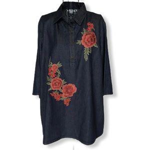 Say What Brand Appliqué Denim Tunic Top Size 1X